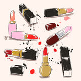 Hand drawing vector illustration with lipstick Stock Photo