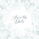 Hand drawing vector Save the date phrase. Vintage floral background. Monochrome. Vector floral backdrop. Blooming garden trees. Botanical Illustration engraving Royalty Free Stock Images