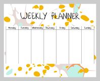 Abstract weekly planner. Hand drawing vector weekly planner. Abstract painting templates Royalty Free Stock Images