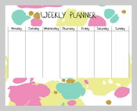 Abstract weekly planner. Hand drawing vector weekly planner. Abstract painting templates Stock Photos