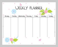 Floral weekly planner. Hand drawing vector weekly planner with flowers Royalty Free Stock Image