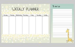 Floral weekly planner. Hand drawing vector weekly planner with giraffe Stock Photo