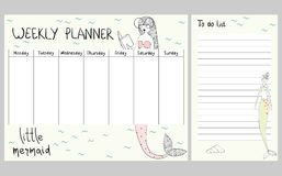 Marine weekly planner. Hand drawing vector weekly planner with mermaids royalty free illustration