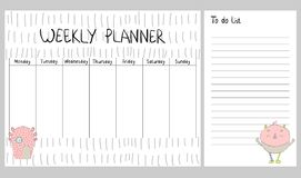 Vector weekly planner. Hand drawing vector weekly planner with monsters Stock Image