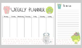 Vector weekly planner. Hand drawing vector weekly planner with monsters Stock Photos