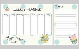 Floral weekly planner. Hand drawing vector weekly planner with owls Stock Images