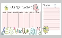 Floral weekly planner. Hand drawing vector weekly planner with owls Royalty Free Stock Photo