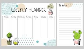 Vector weekly planner. Hand drawing vector weekly planner with plants Stock Image
