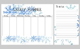 Winter weekly planner. Hand drawing vector weekly planner with snowflakes Royalty Free Stock Images
