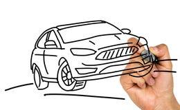 Hand drawing vehicle. On white background stock photo
