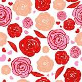 Hand drawing vibrant colored red roses, hearts repeated romantic pattern. Background stock illustration