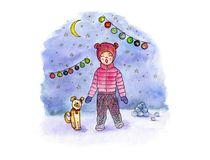 Hand drawing watercolor art with singing girl, dog, moon and garland against the background of a snowy evening. royalty free illustration