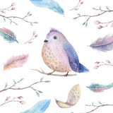 Hand drawing watercolor flying cartoon bird witm leaves, branche Royalty Free Stock Photos