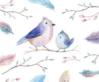 Hand drawing watercolor flying cartoon bird witm leaves, branche Stock Image