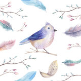 Hand drawing watercolor flying cartoon bird witm leaves, branche Stock Photo