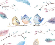 Hand drawing watercolor flying cartoon bird witm leaves, branche Royalty Free Stock Image