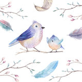Hand drawing watercolor flying cartoon bird witm leaves, branche Stock Photography