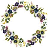 Wedding frame wreath green and purple flowers ornament. Hand drawing watercolor Wedding frame wreath green and purple flowers ornament royalty free illustration
