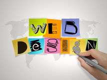 Hand drawing web design on sticky note. And world map background as concept stock photography