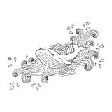 Hand-drawing whale in abstract waves. Vector illustration on white background Stock Images