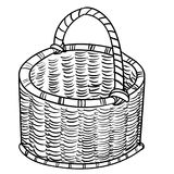 Hand drawing Wicker baskets-Vector simple line. Hand drawn sketch of Wicker baskets isolated, Black and White Cartoon Vector Illustration for Coloring Book Royalty Free Stock Image