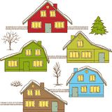 Hand drawing winter houses isolated Stock Photos