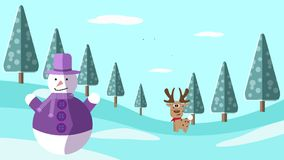 A hand drawing winter scene with deer and snowman Royalty Free Stock Photo