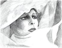 Hand drawing woman's portret royalty free stock photo