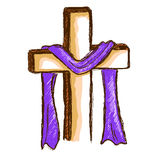 Hand Drawing of a Wood Cross With Purple Cloth Royalty Free Stock Photo