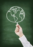 Hand drawing world on chalkboard Royalty Free Stock Photography