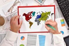 Hand drawing world map Stock Photos
