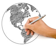 Hand Drawing World Map Globe line. Royalty Free Stock Photo