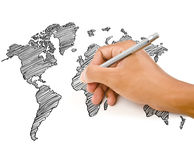 Hand Drawing World Map Globe line Stock Photography