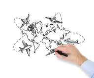 Hand drawing world map Stock Image