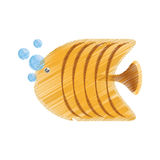 Hand drawing yellow butterfly fish aquarium bubbles. Illustration eps 10 Stock Photo