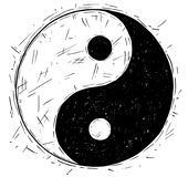 Hand Drawing of Yin Yang Jin Jang Symbol Royalty Free Stock Image