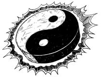 Hand Drawing of Yin Yang Jin Jang Symbol Royalty Free Stock Photos