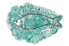 Hand drawing zentangle. Decorative, abstract fish tail. Coloring book. Vector illustration Royalty Free Stock Photo