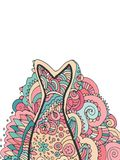 Hand drawing zentangle. Decorative, abstract fish tail. Coloring book. Vector illustration Stock Photo
