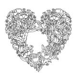 Hand drawing zentangle element. Black and white. Flower mandala. Stock Photo