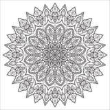 Hand drawing zentangle element. Black and white. Flower mandala Stock Photography