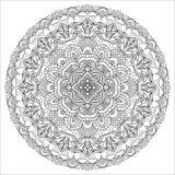 Hand drawing zentangle element. Black and white. Flower mandala Stock Image