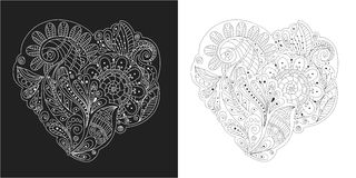 Hand drawing zentangle element black and white flowers, leafs and decorative elements in heart shape Royalty Free Stock Image