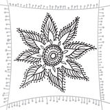 Hand drawing zentangle element with decorative frame.  Flower mandala Stock Photos