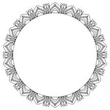 Hand drawing zentangle frame. Black and white. Flower mandala. Royalty Free Stock Photography