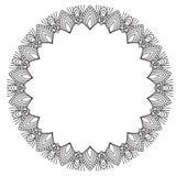 Hand drawing zentangle frame. Black and white. Flower mandala. Stock Images