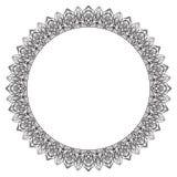 Hand drawing zentangle frame. Black and white. Flower mandala. Royalty Free Stock Photos