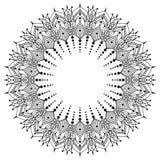Hand drawing zentangle frame. Black and white. Flower mandala. Stock Photos