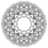 Hand drawing zentangle frame. Black and white. Flower mandala. Royalty Free Stock Photo