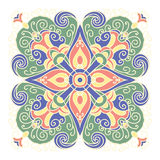 Hand drawing zentangle mandala color element. Italian majolica style Royalty Free Stock Photos